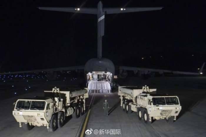 """首批两辆""""萨德""""发射车运抵韩国"""